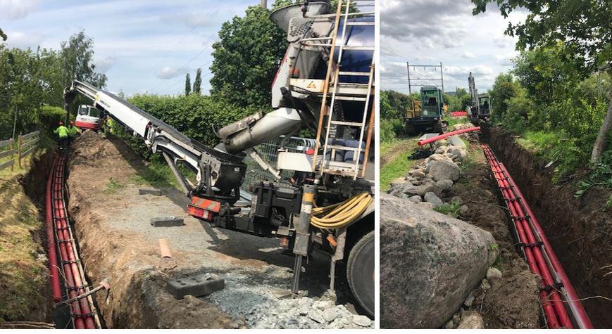 Veflen graver til ny høyspentledning i Kongsvinger